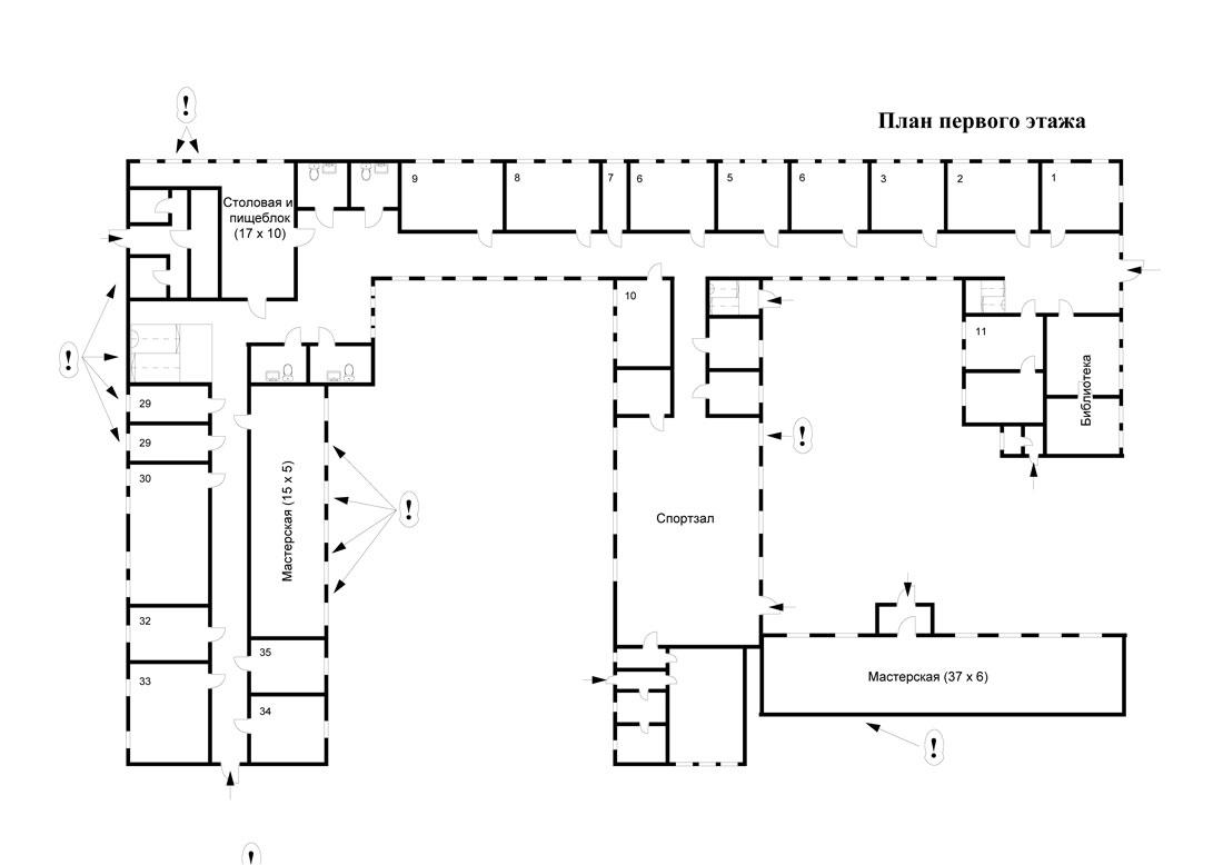 Набросал несколько схем штурма бесланской школы, как я это вижу, основываясь на фото и видео-документах и...